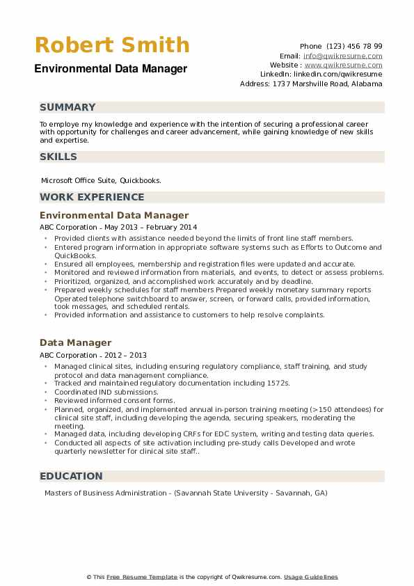 Environmental Data Manager Resume Template