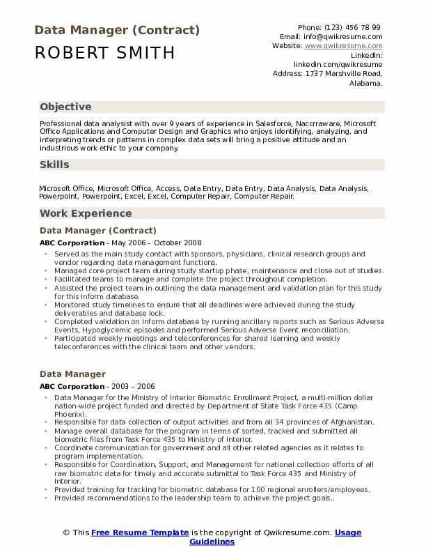 Data Manager (Contract) Resume Example