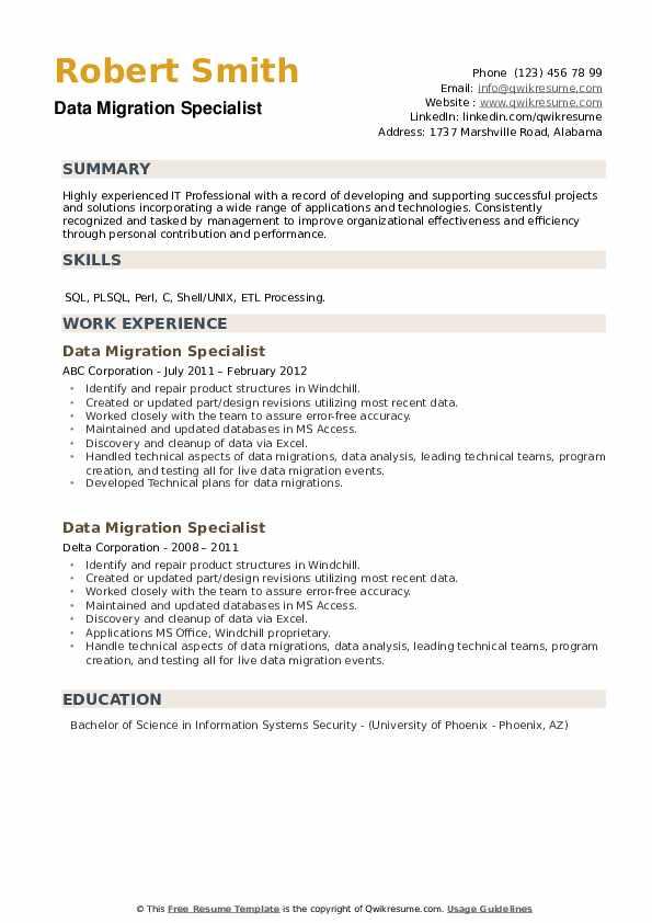 Data Migration Specialist Resume example