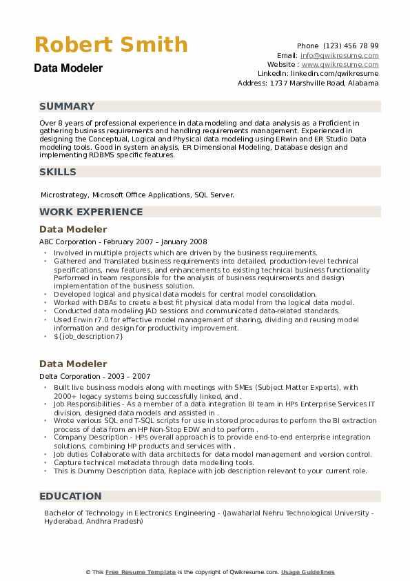 Data Modeler Resume example