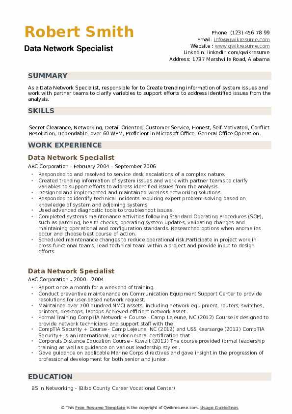 Data Network Specialist Resume example