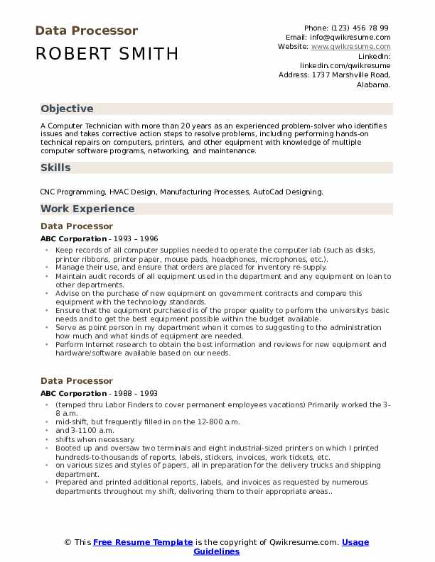 Data Processor Resume Example
