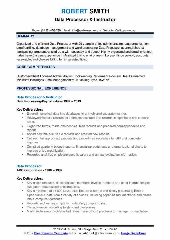 data processor resume samples