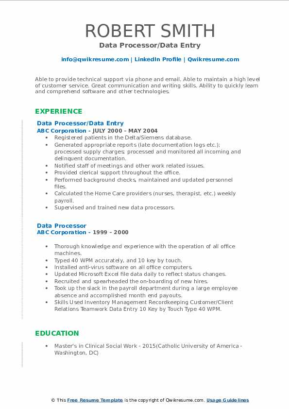 Data Processor/Data Entry Resume Sample