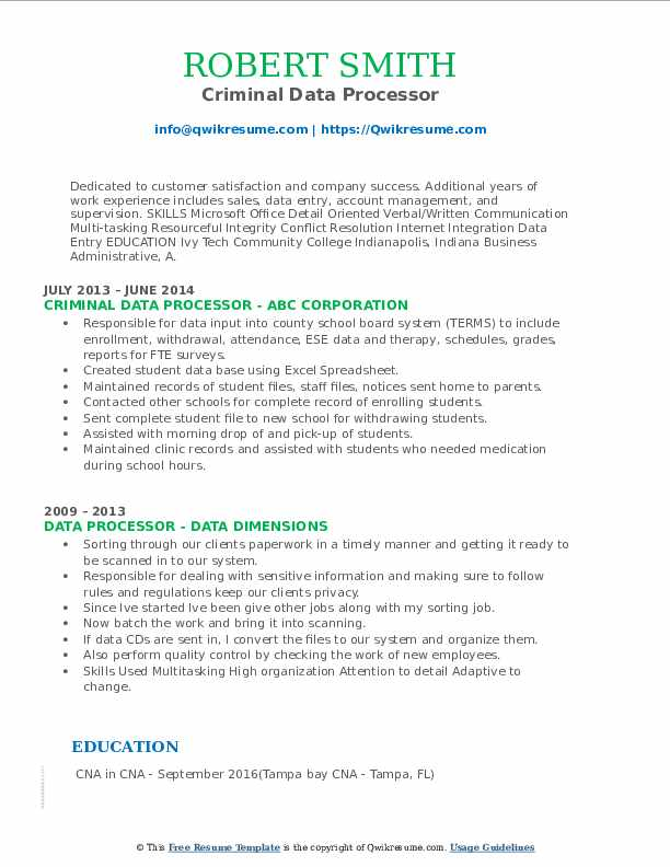 Criminal Data Processor Resume Format