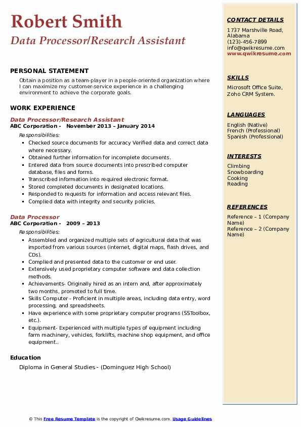 Data Processor/Research Assistant Resume Format