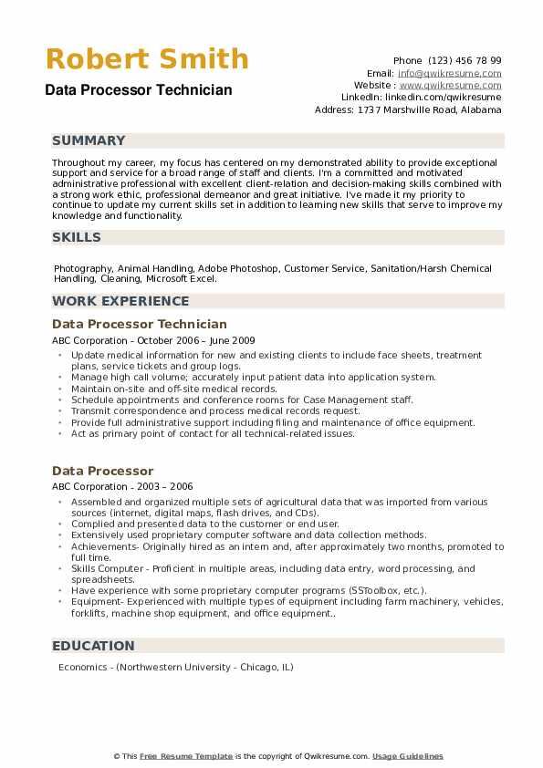 Data Processor Technician Resume Template