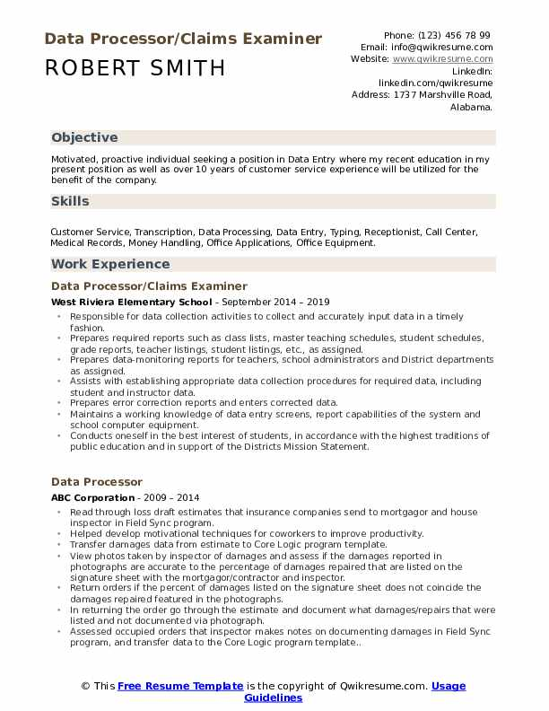 Data Processor/Claims Examiner Resume Model
