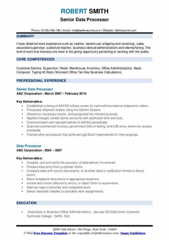 Senior Data Processor Resume Format