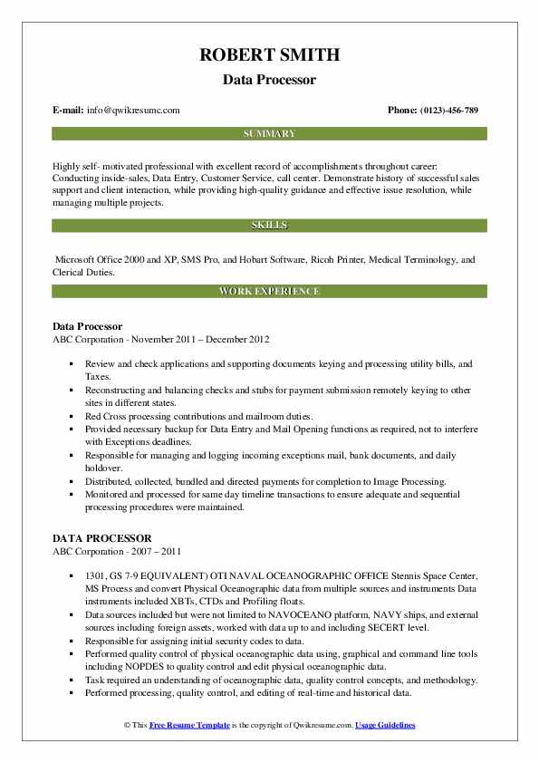 data processor resume samples
