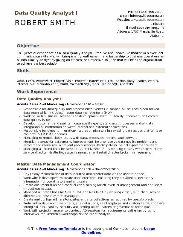 Data Quality Analyst I Resume Template