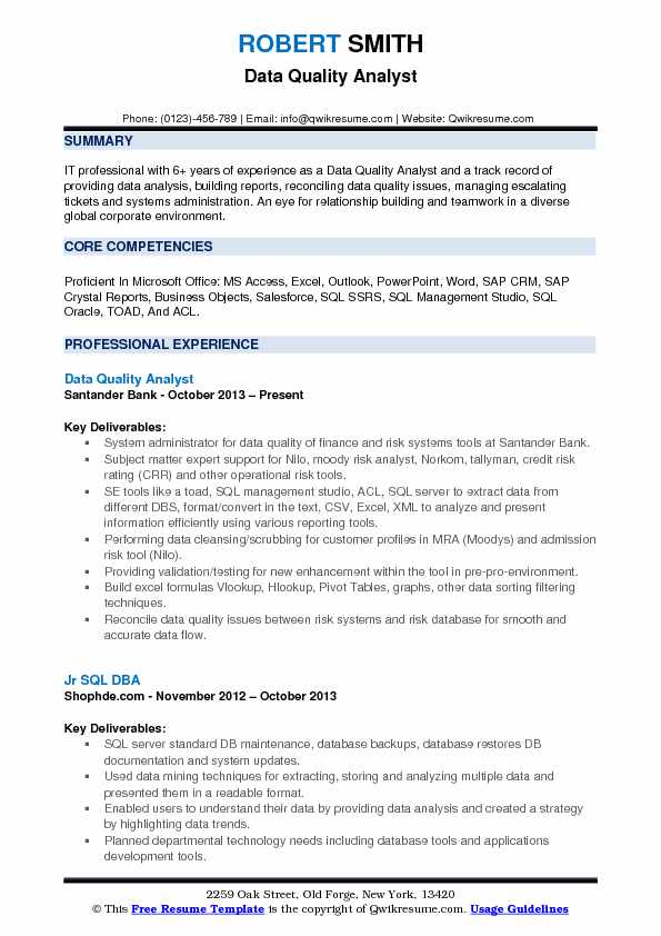 Data Quality Analyst Resume Samples | QwikResume