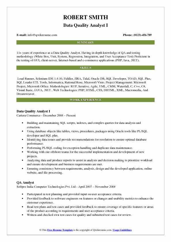 Data Quality Analyst I Resume Model