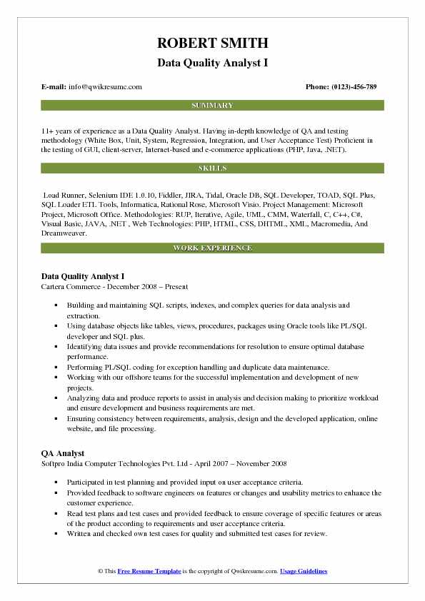 data quality analyst resume samples
