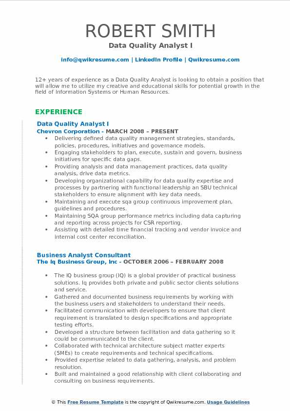 Data Quality Analyst I Resume Sample