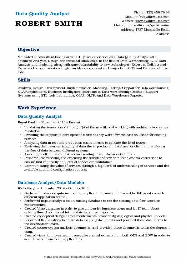 Data Quality Analyst Resume Model