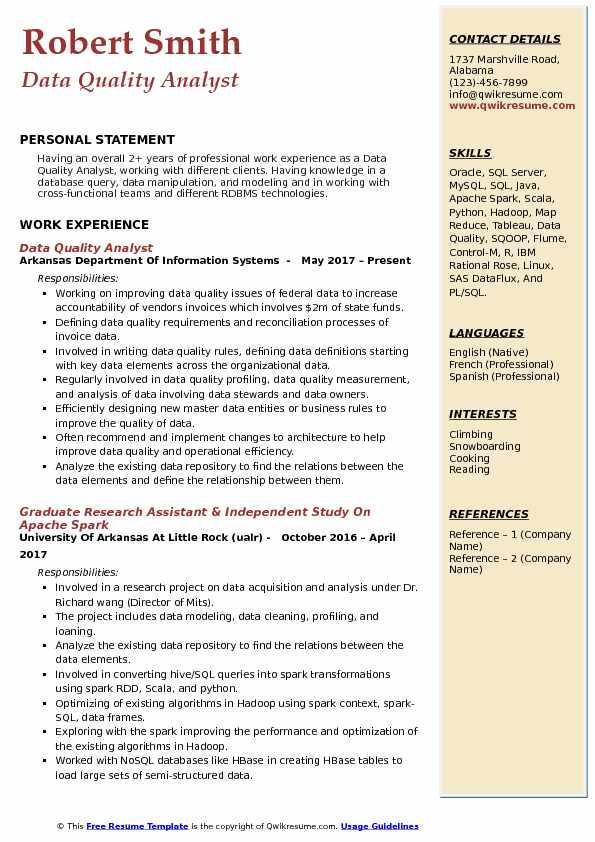 Data Quality Analyst Resume Example