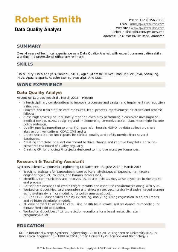 data quality analyst resume samples
