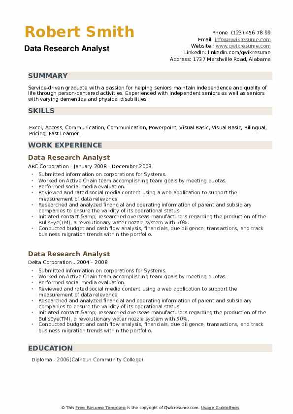 Data Research Analyst Resume example