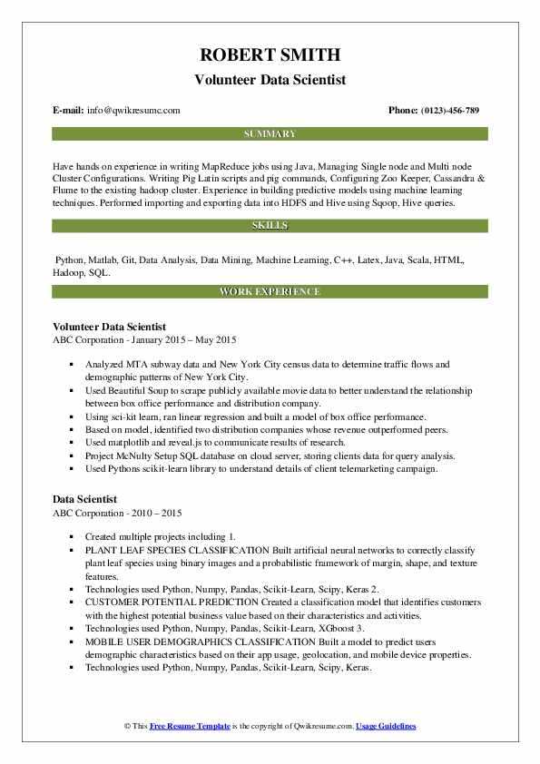 Data Scientist Resume Samples | QwikResume