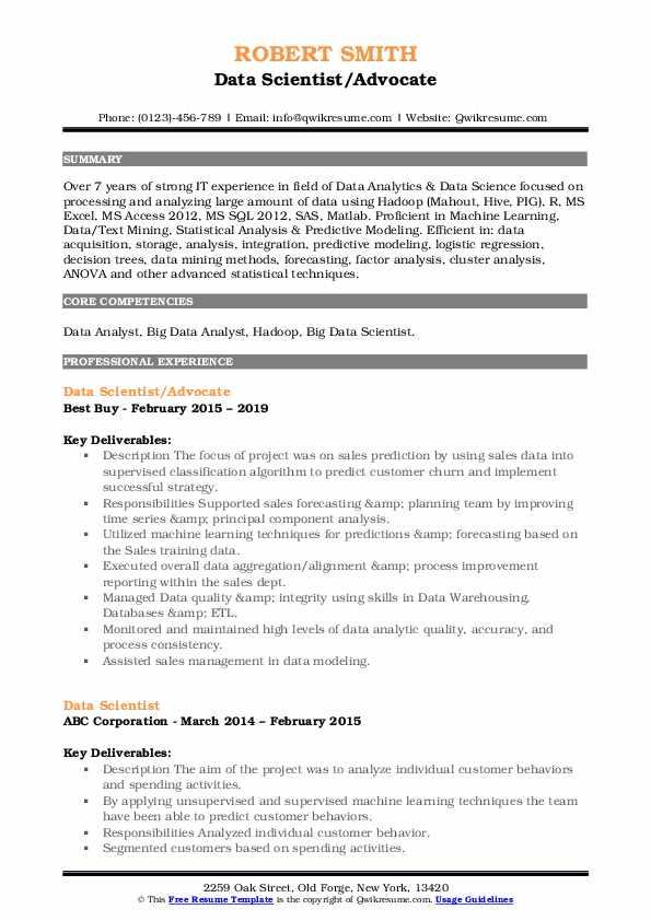 Data Scientist/Advocate Resume Example