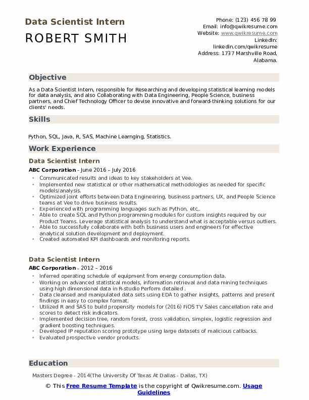 data scientist intern resume samples  qwikresume