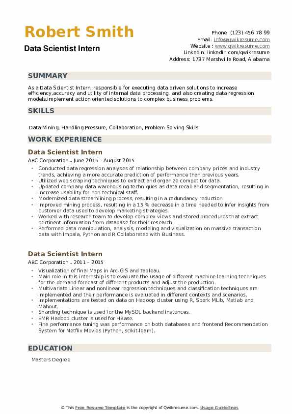 Data Scientist Intern Resume example