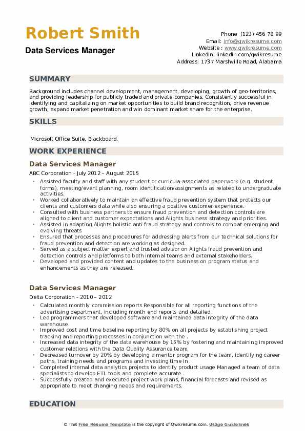 Data Services Manager Resume example
