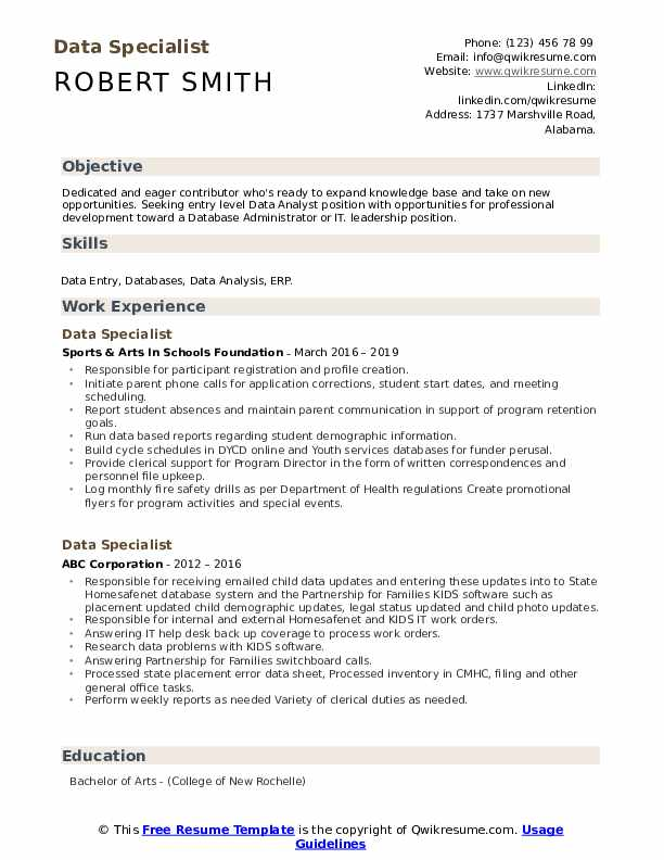 Data Specialist Resume Template