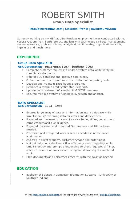 Group Data Specialist Resume Model