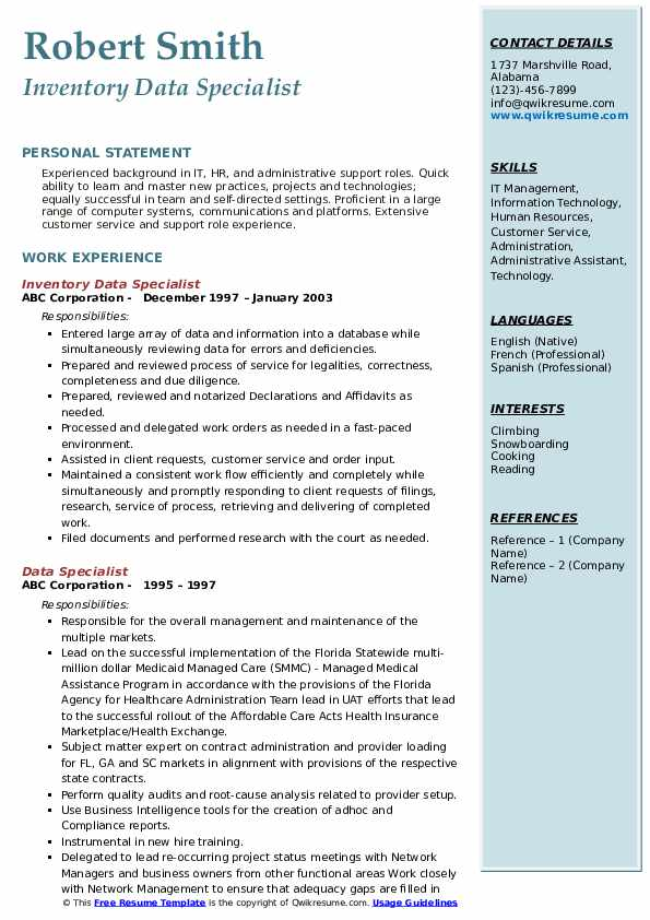 Inventory Data Specialist Resume Model