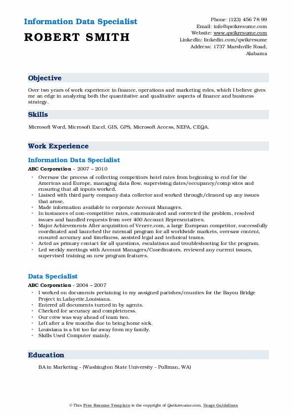 Information Data Specialist Resume Sample