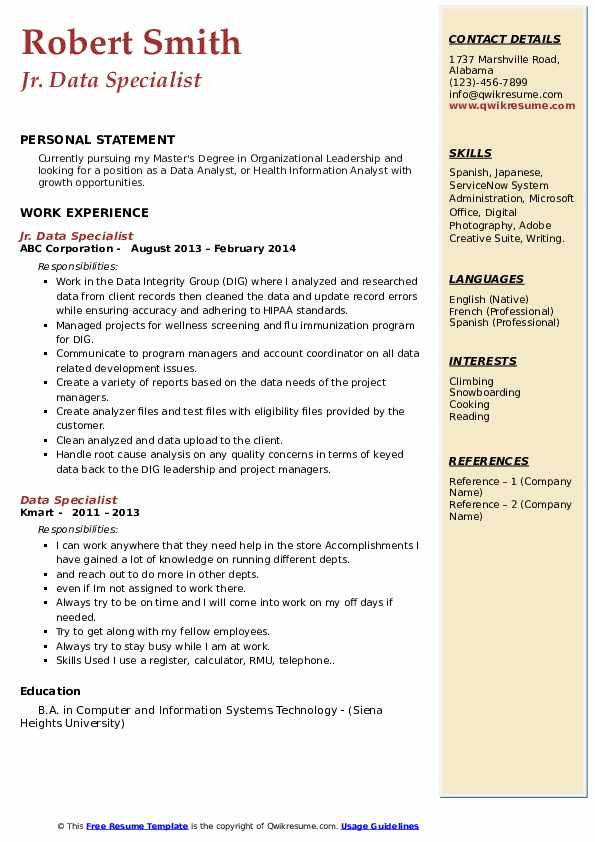 Data Specialist Resume Samples Qwikresume