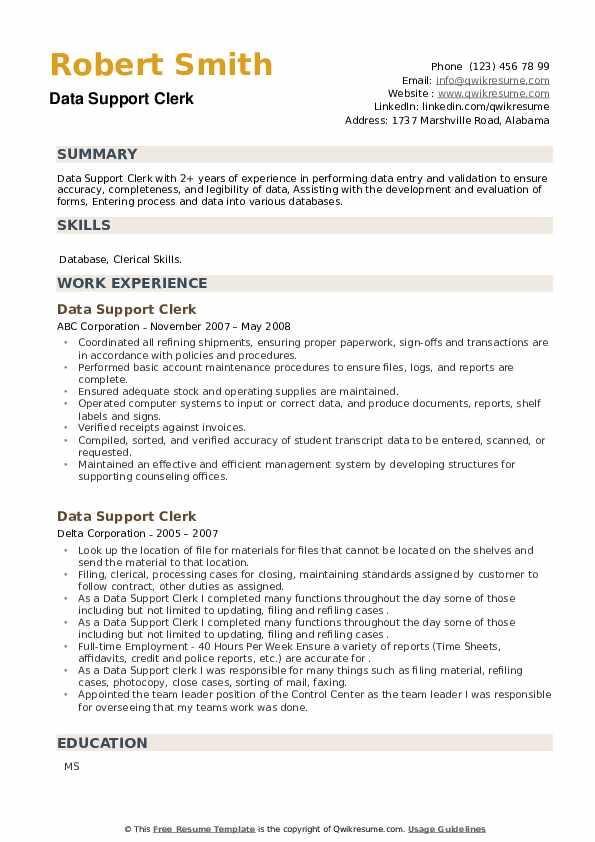 Data Support Clerk Resume example