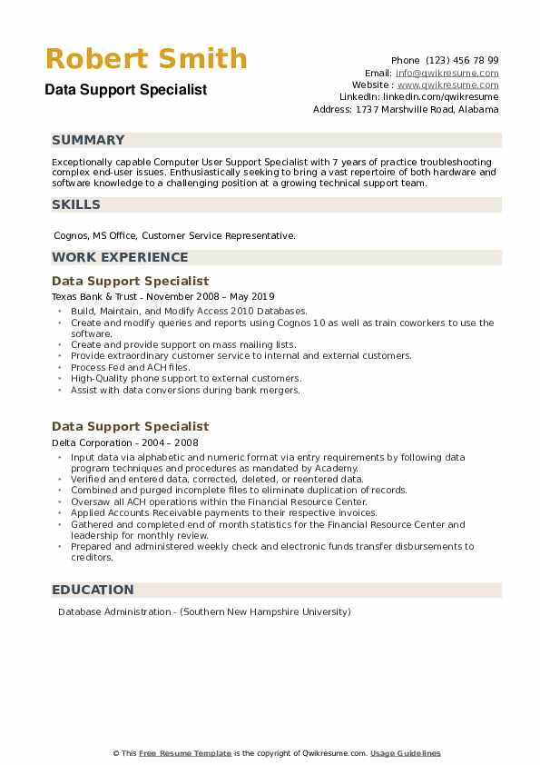 Data Support Specialist Resume example