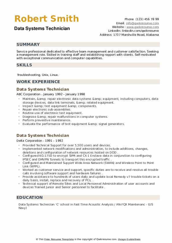 Data Systems Technician Resume example