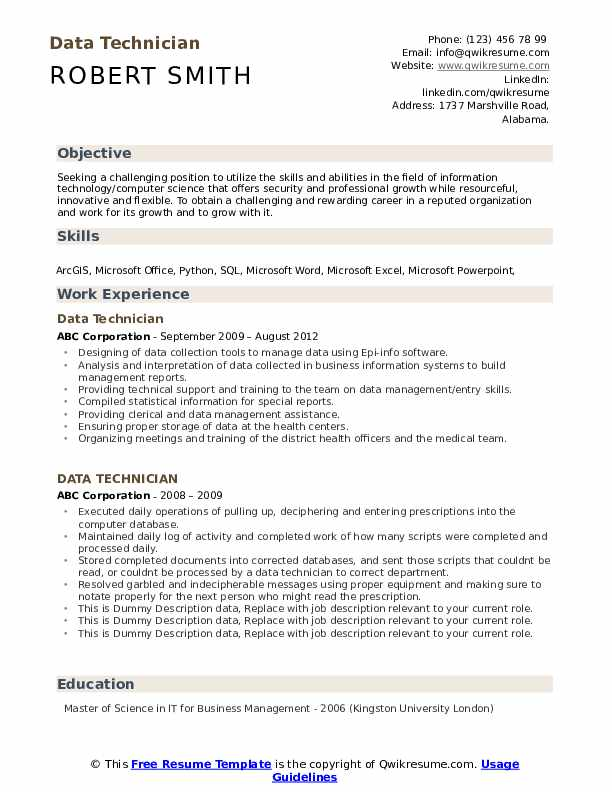 Data Technician Resume example