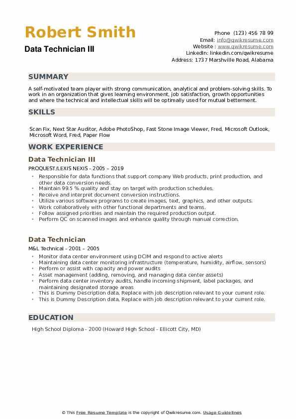 Document Control Lead Resume example