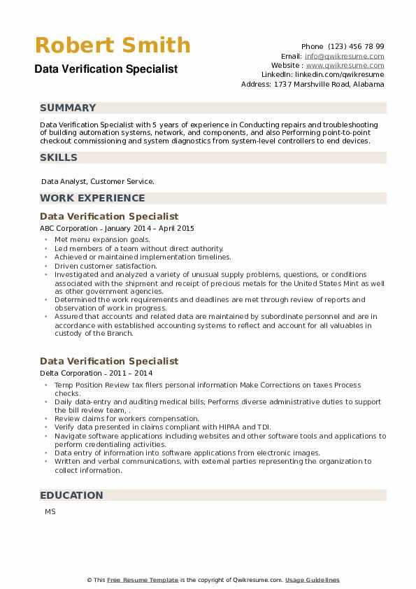Data Verification Specialist Resume example