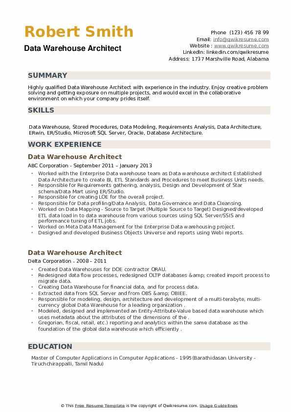 Data Warehouse Architect Resume example