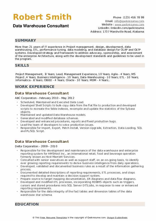 data warehouse consultant resume samples