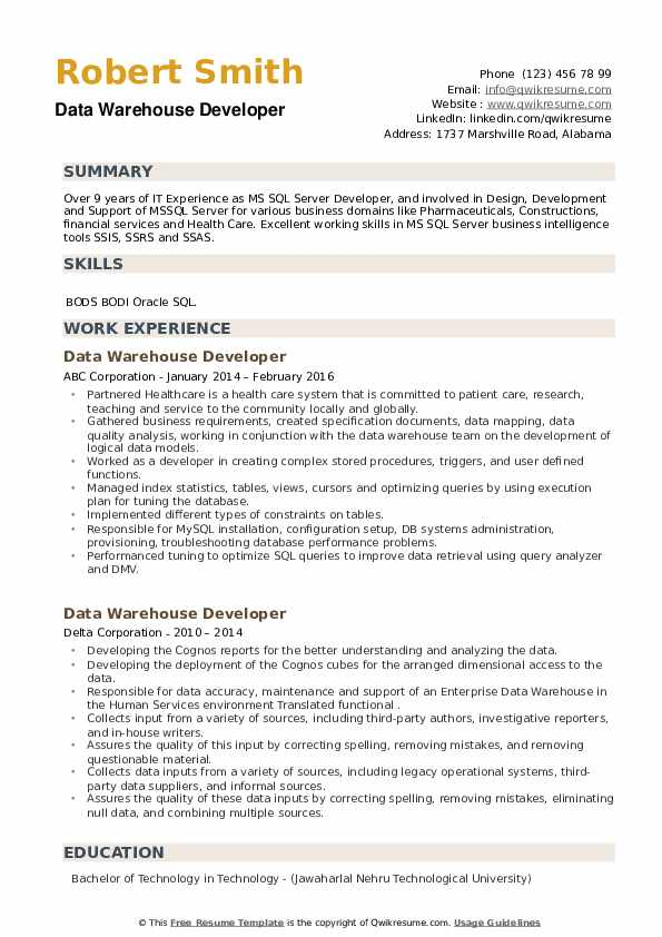 Data Warehouse Developer Resume example