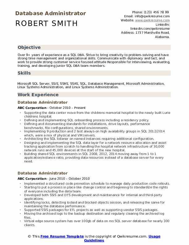 Database administrator resume summary essay readers