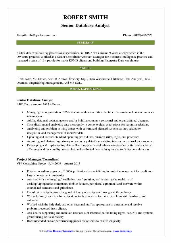 Database Analyst Resume Samples