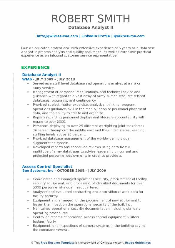 Database Analyst II Resume Template