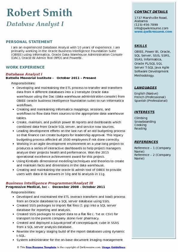 Database Analyst I Resume Sample