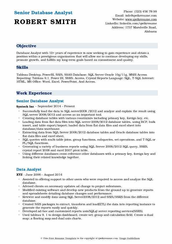 Senior Database Analyst Resume Sample