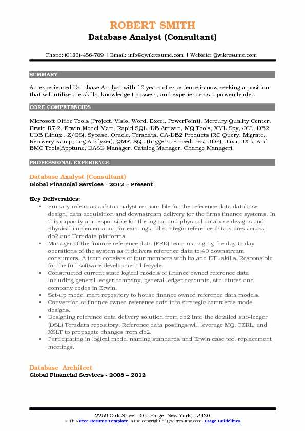 Database Analyst (Consultant) Resume Format