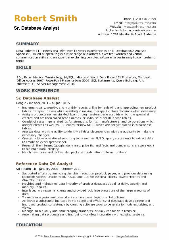 Database Analyst Resume Example