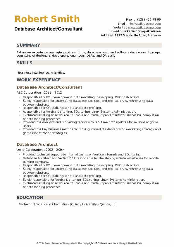 Database Architect Resume example